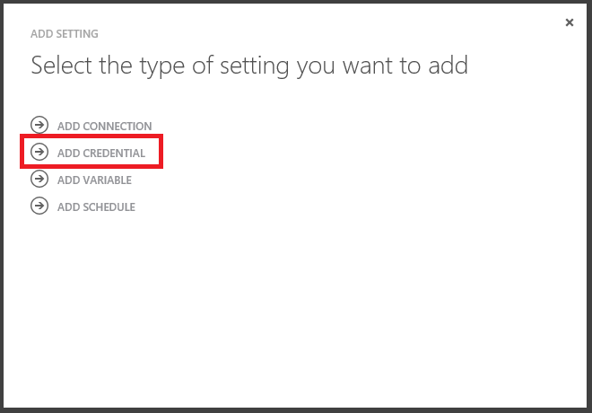 Azure Automation Add Setting Credential