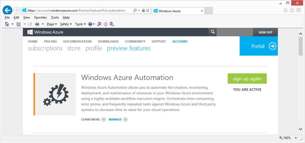 Azure Automation Preview Feature