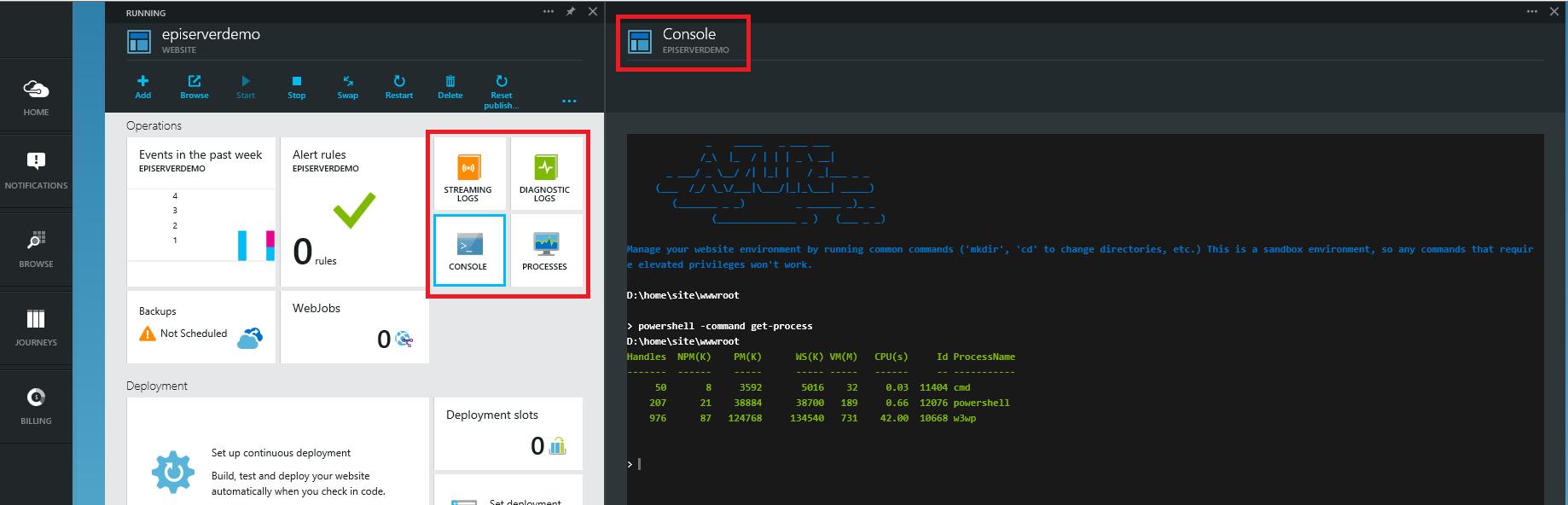 Azure portal Operation Console