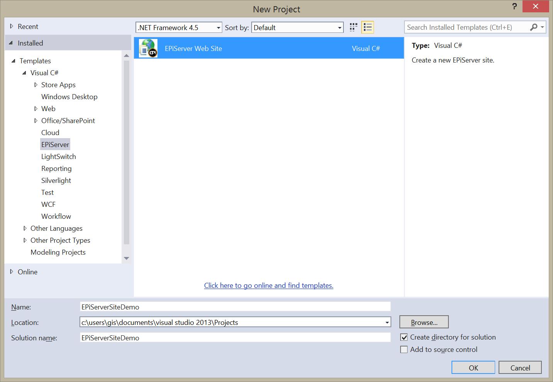 Create a EPiServer Web Site project