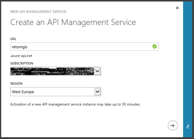 Create an Api Management Service Wizard