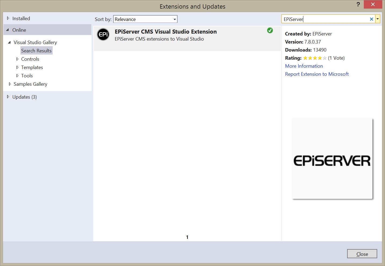 EPiServer CMS Visual Studio Extension