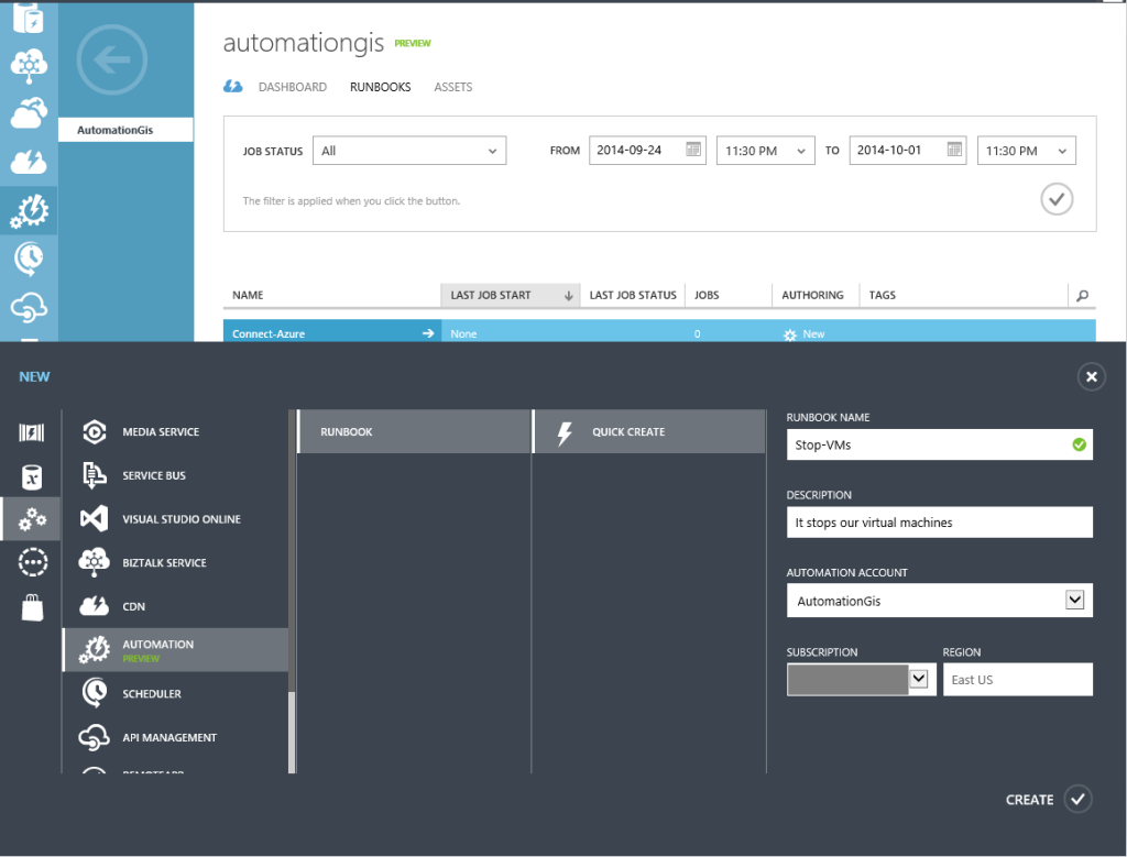 New Automation Runbook