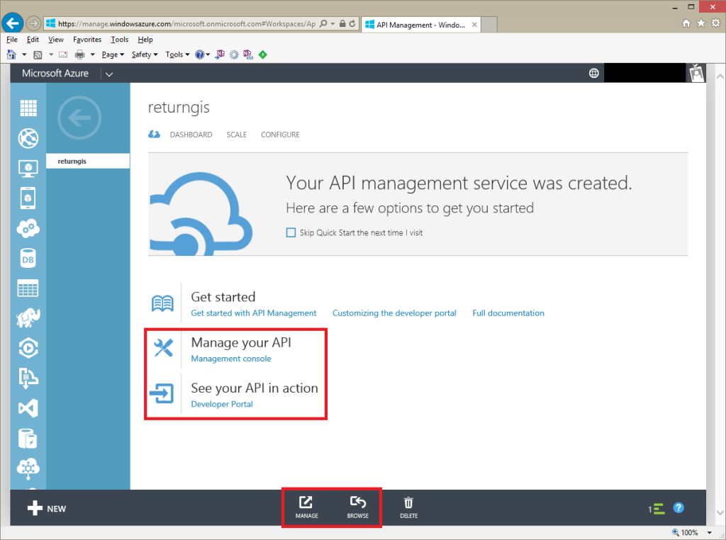 Your Api management service was created