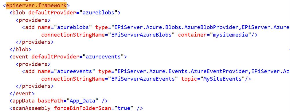 episerver.framework section