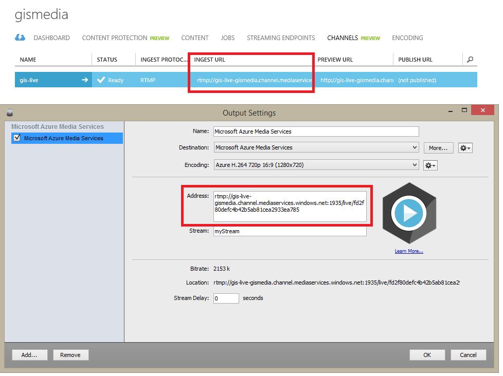 Azure Media Services Ingest URL