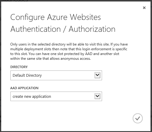 Configure Azure Websites Authentication and authorization