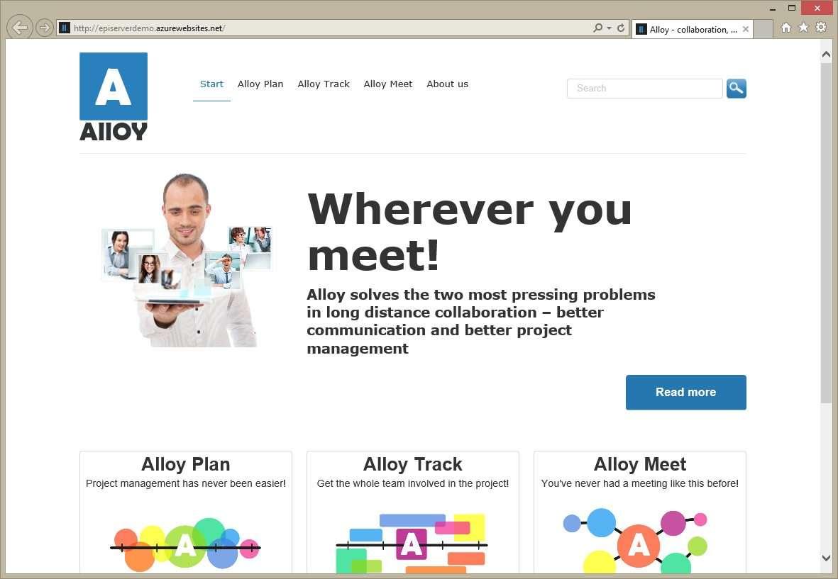 EPiServer Alloy template on Azure Web sites