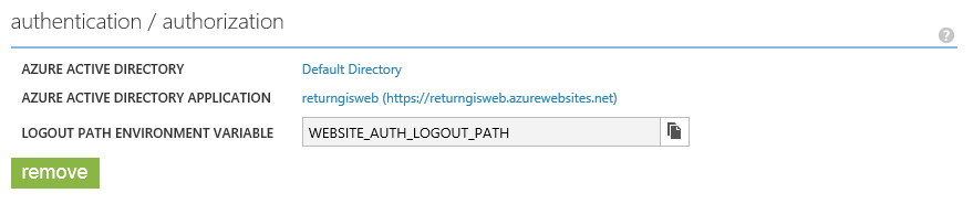 Websites AAD authentication and authorization filled