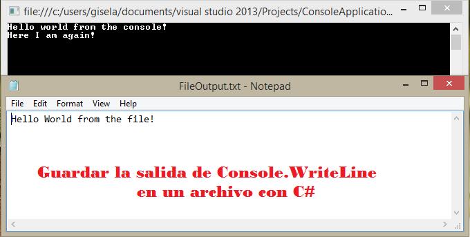 Guardar la salida de Console.WriteLine en un archivo con csharp