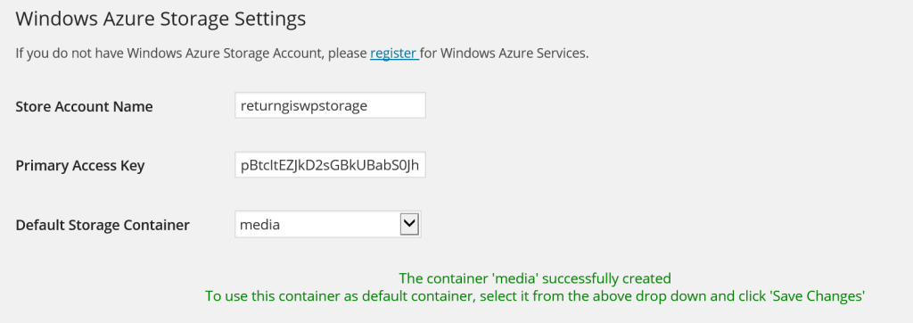 Mandatory Windows Azure Storage Settings