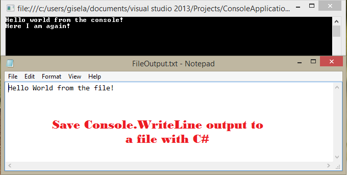 Save Console.WriteLine output to a file with C#