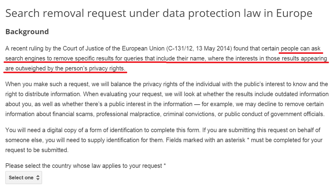 Search removal request under data protection law in Europe