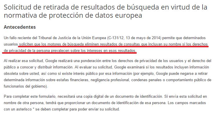 Solicitud de retirada de resultados de búsqueda en virtud de la normativa de protección de datos europea