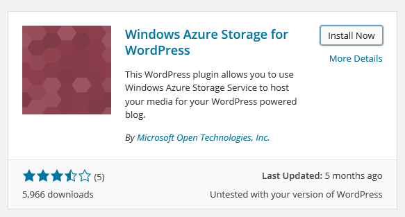 Windows Azure Storage for WordPress