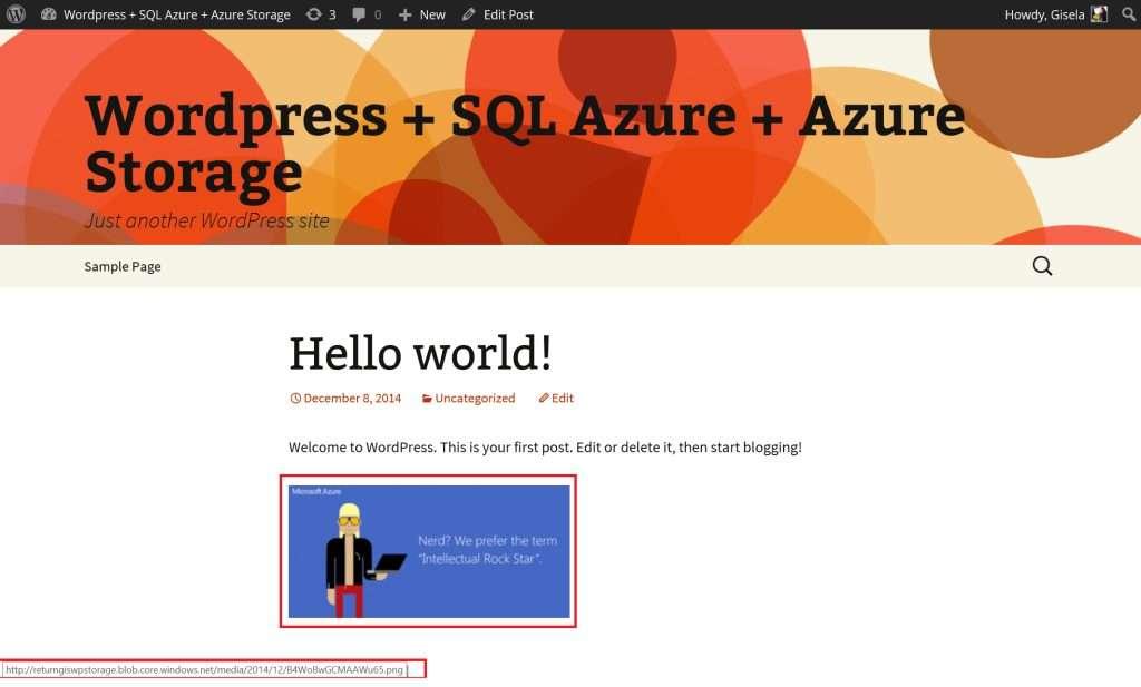 Wordpress Azure Storage result