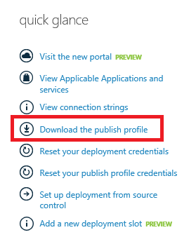 quick glance - download the publish profile
