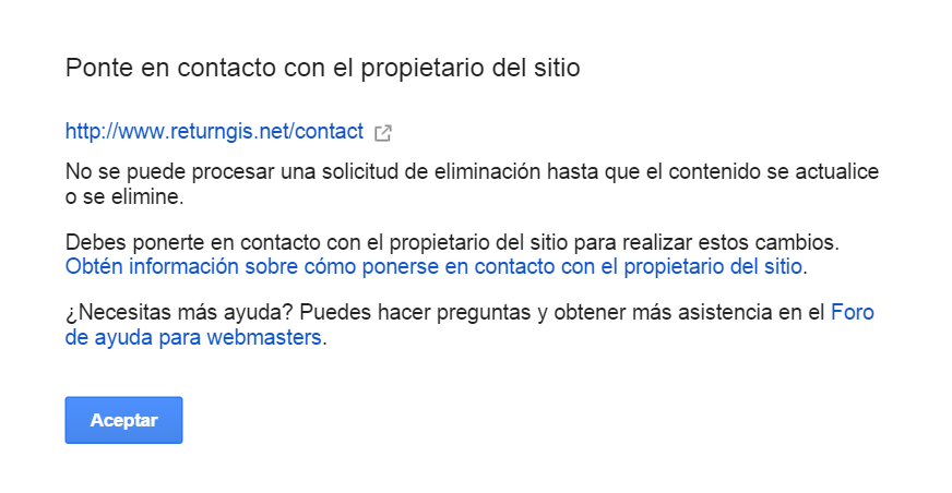Google Webmasters Tools - Ponte en contacto con el propietario del sitio
