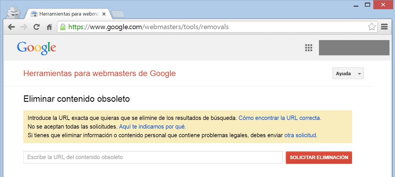 Google  Webmasters Tools solicitar eliminacion URL