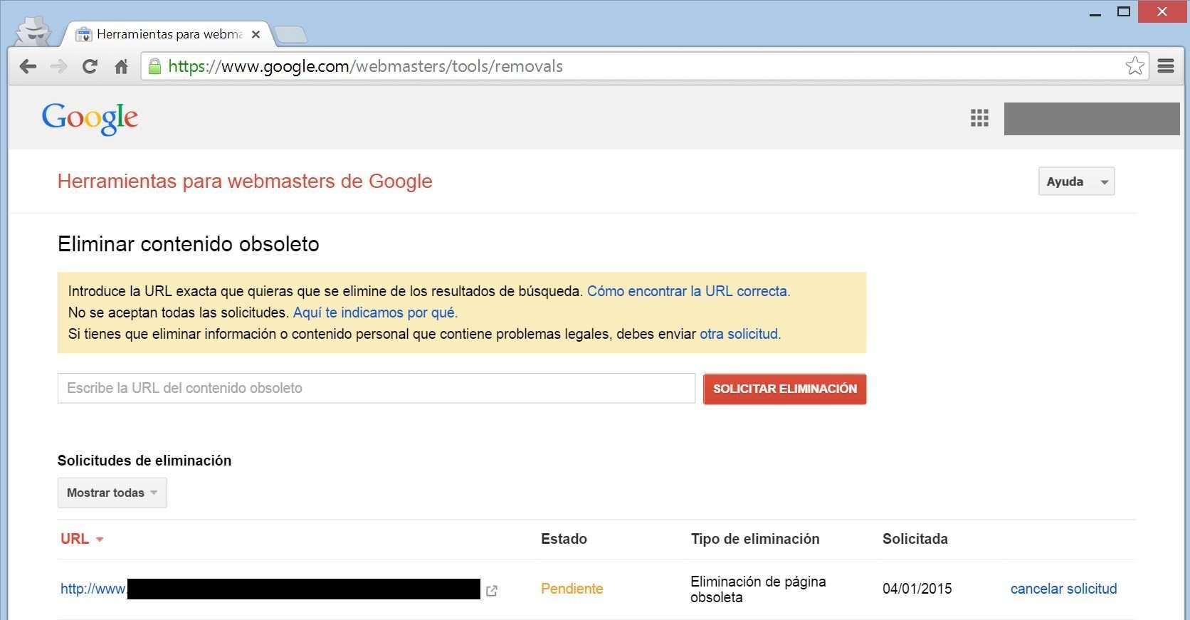 Google Webmasters tools - Solicitud pendiente
