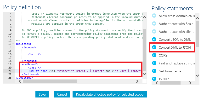 Policy Outbound Convert XML to JSON