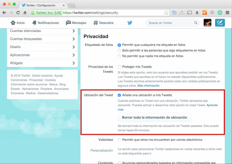 Twitter - Borrar toda la información de ubicación