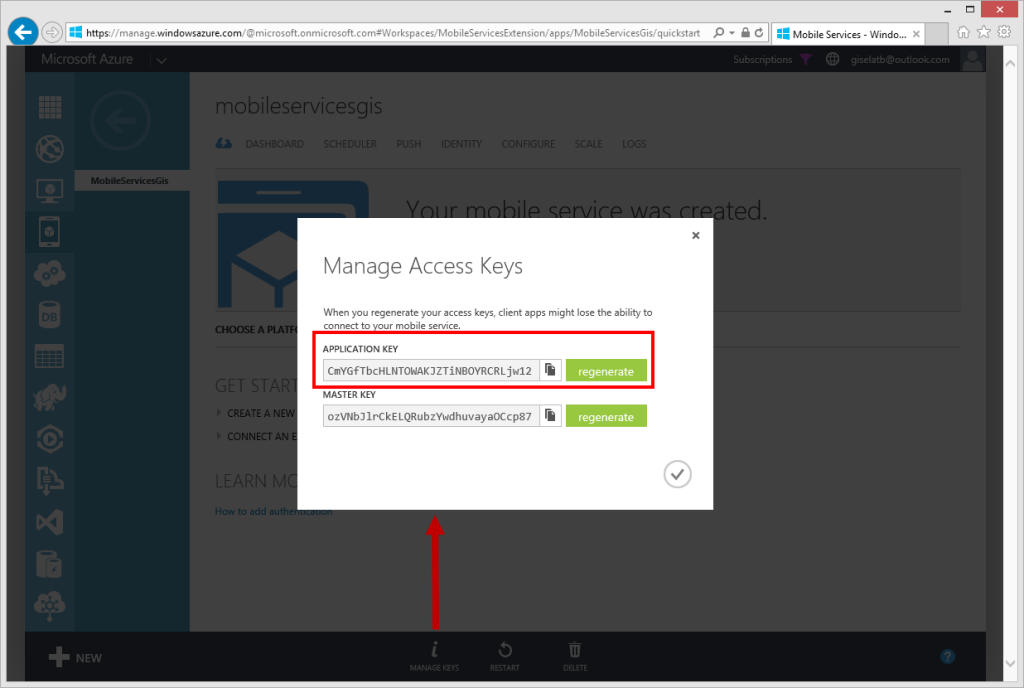 Mobile Services - Manage Access Keys