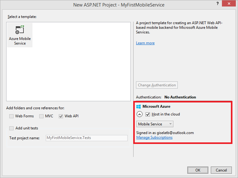 New ASP.NET Project Mobile Service Microsoft Azure account