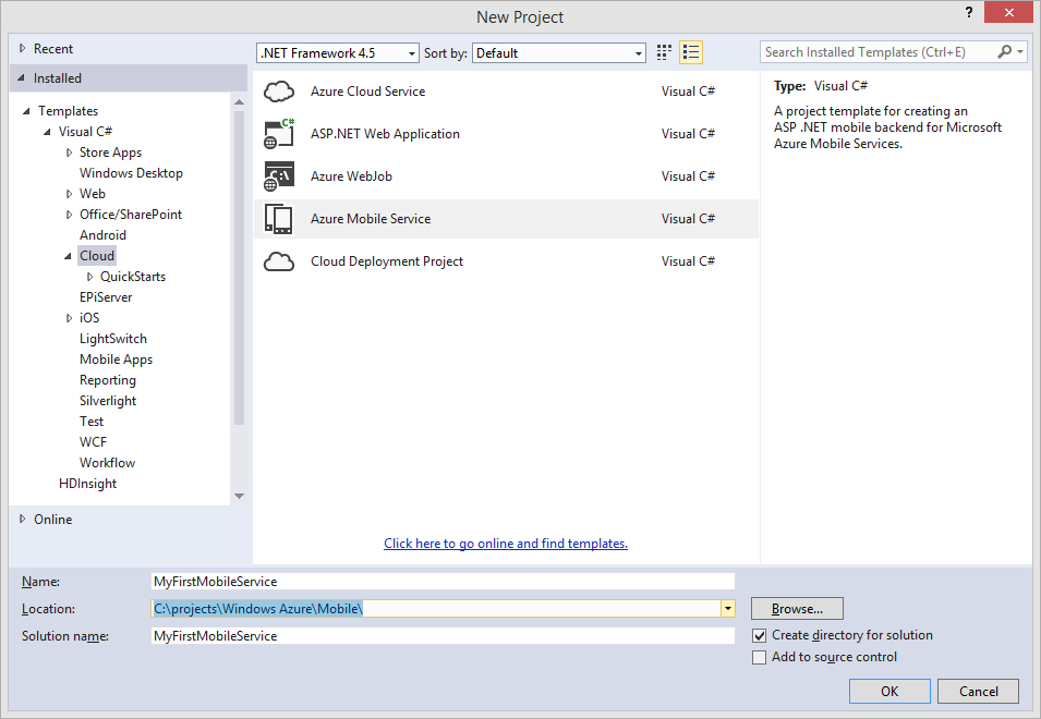 New Project Azure Mobile Service