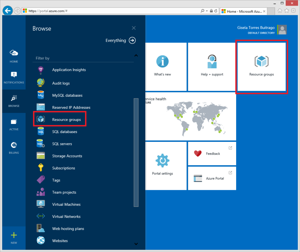 ¿Dónde encontrar los Azure Resource group?