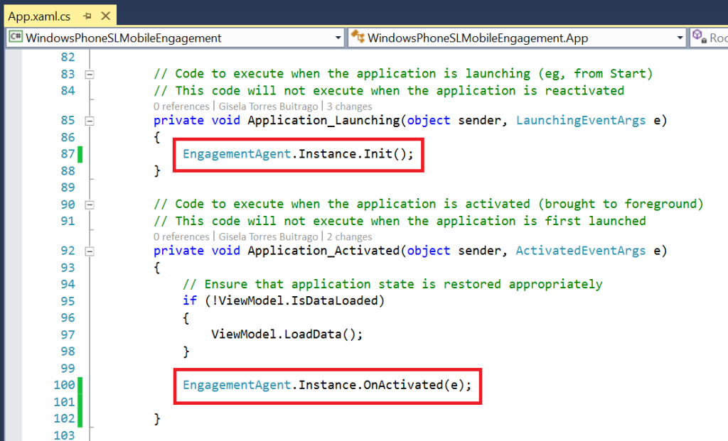 Add Engagement.Instance.Init in App.xaml.cs file