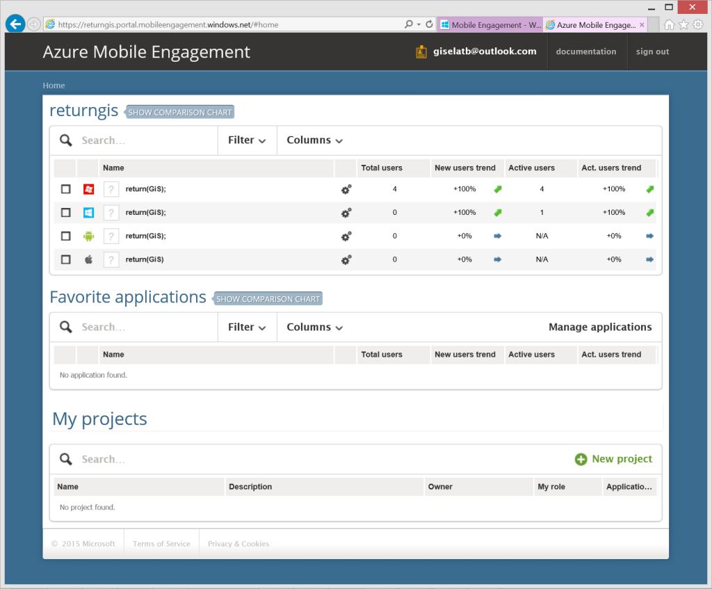 Azure Mobile Engagement portal apps