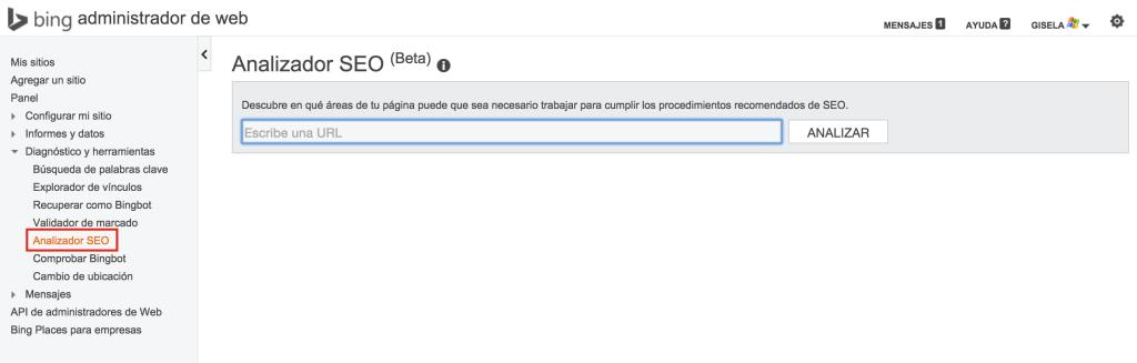 Analizador de SEO (Beta) de las webmaster tools de Bing
