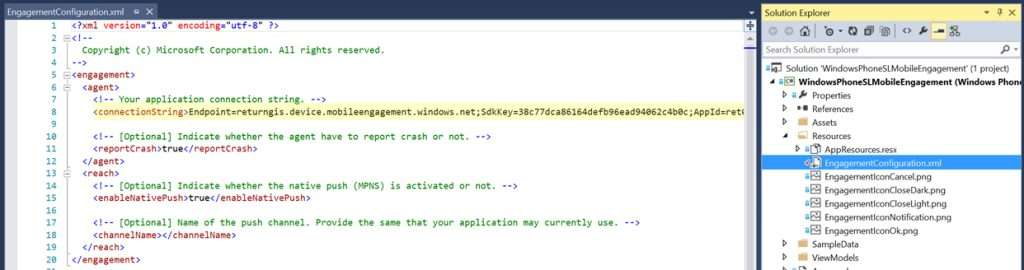 Edit EngagementConfiguration.xml file