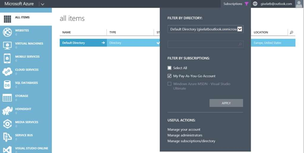 Microsoft Azure - Filter by subscriptions