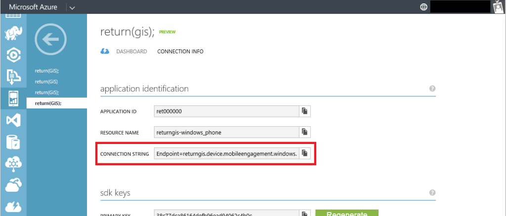 Mobile Engagement - Connection Info WP - Connection String