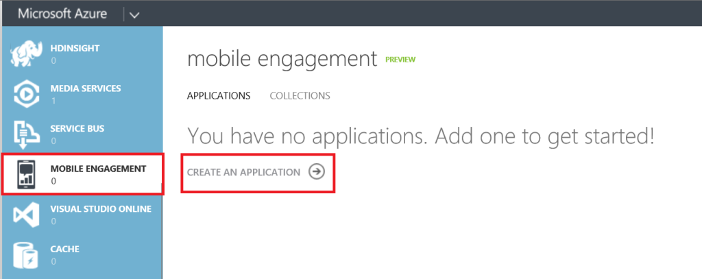 Mobile Engagement Create an application