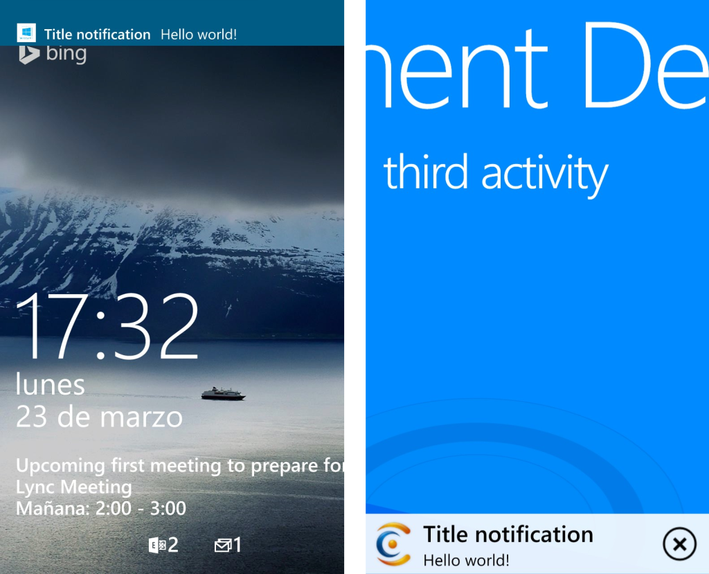 Mobile Engagement - Windows Phone notification