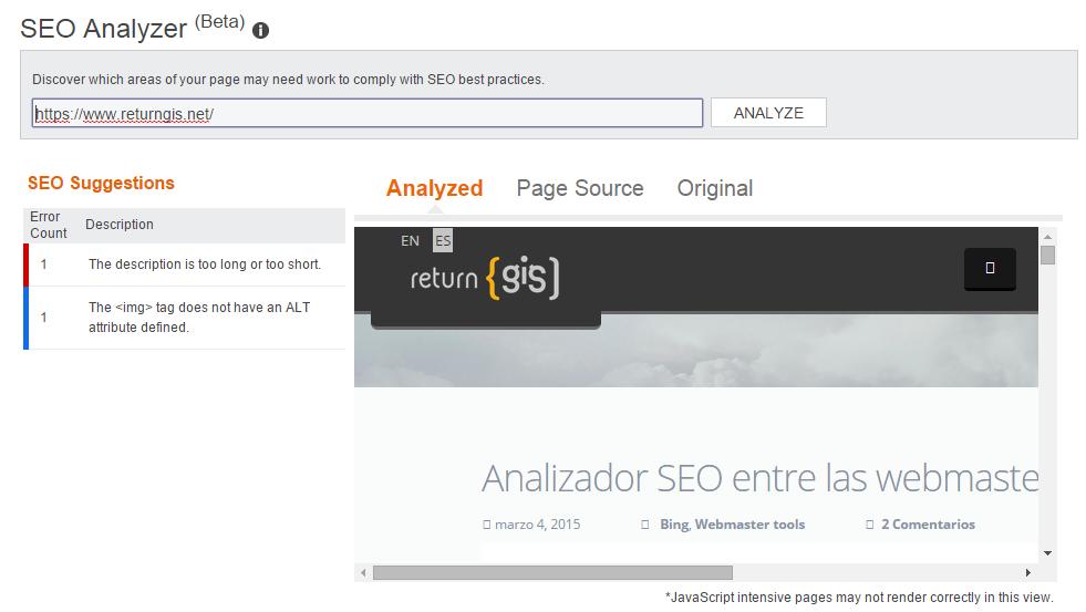 SEO Analyzer results