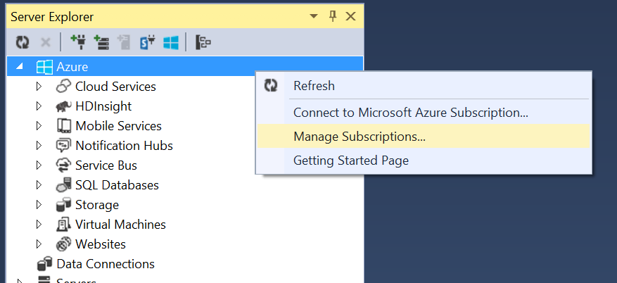 Visual Studio - Manage Azure Subscriptions