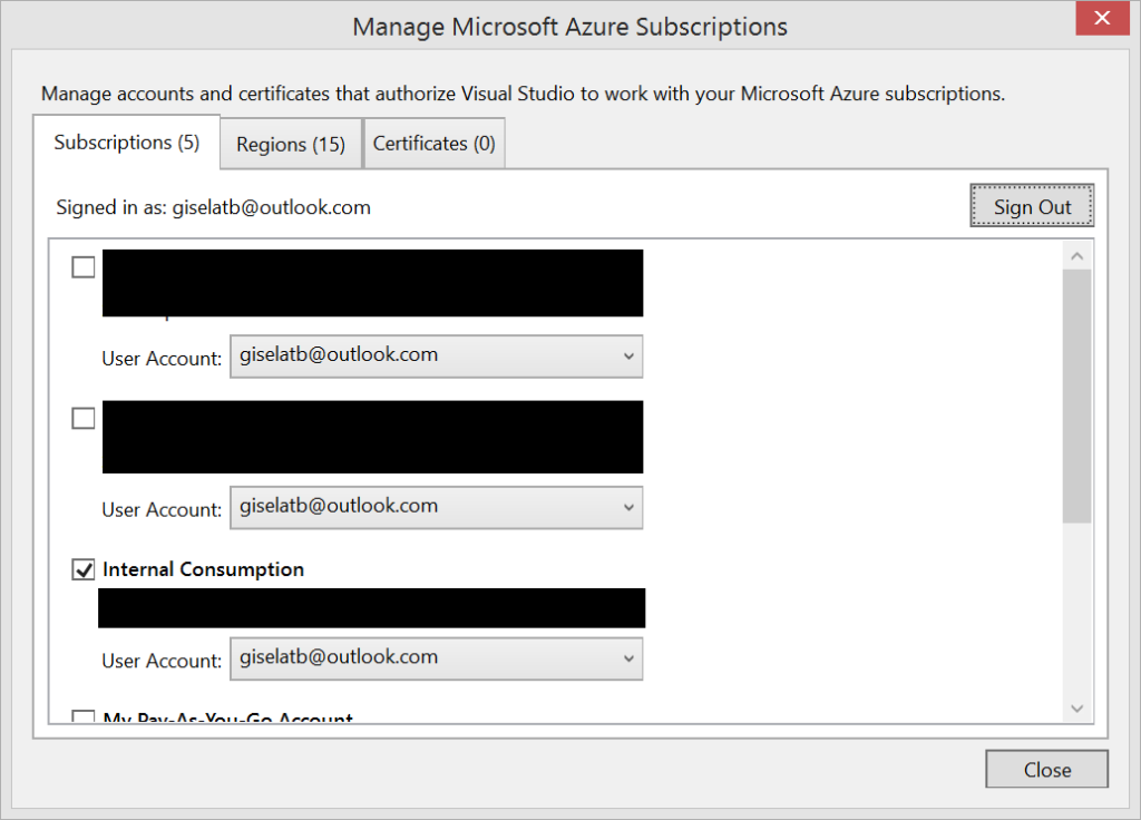 Visual Studio - Manage Microsoft Azure Subscriptions