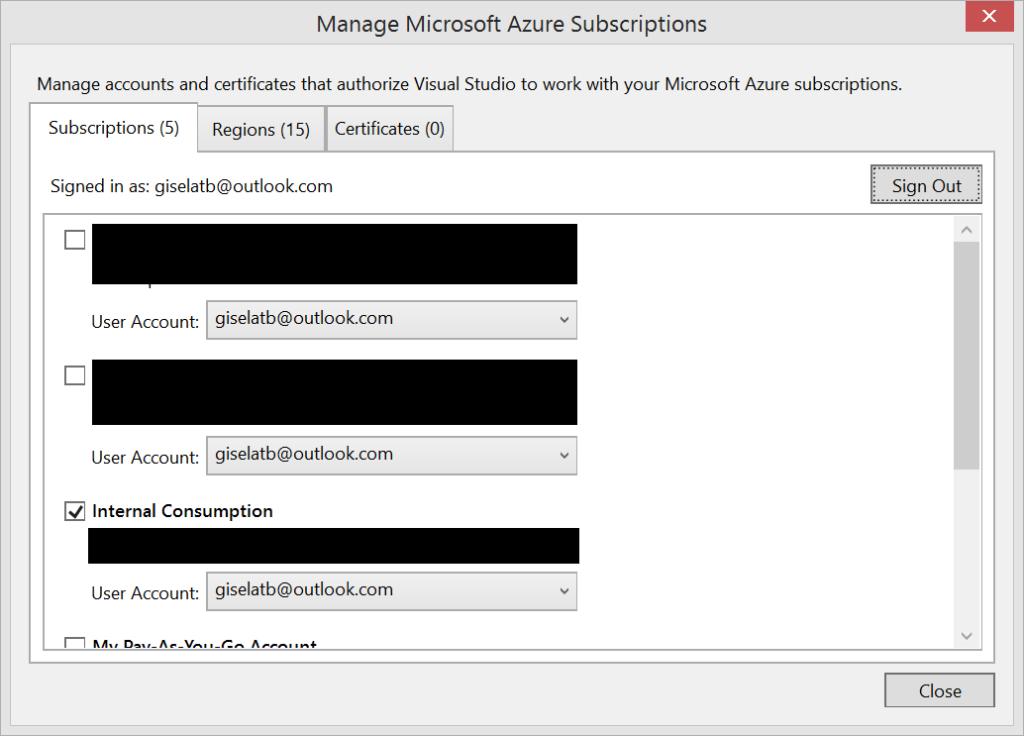 Visual Studio - Manage Microsoft Azure Subscriptions
