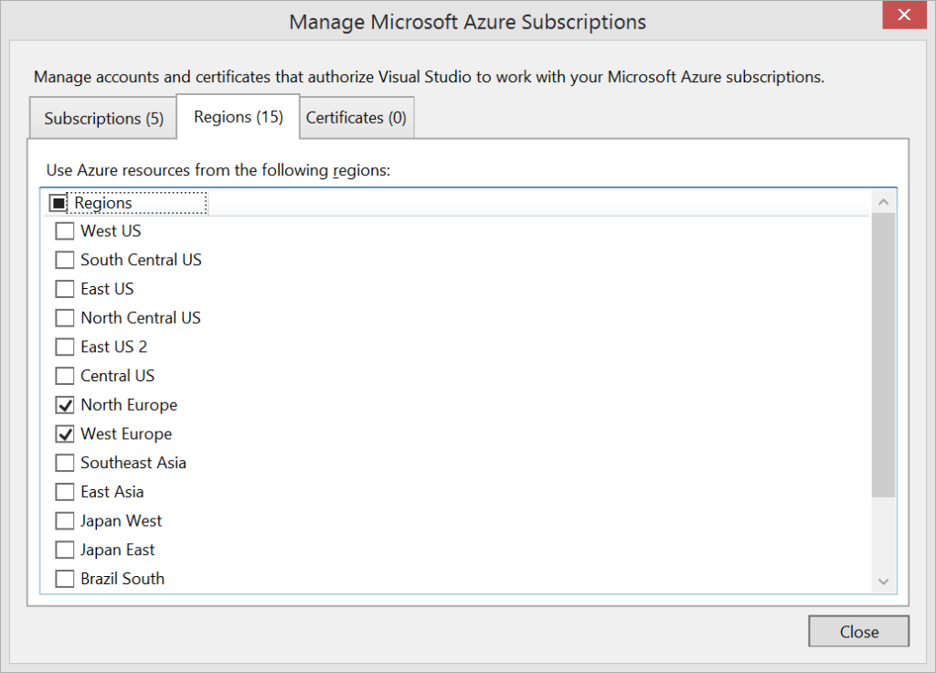 Visual Studio - Microsoft Azure - Filter by Regions