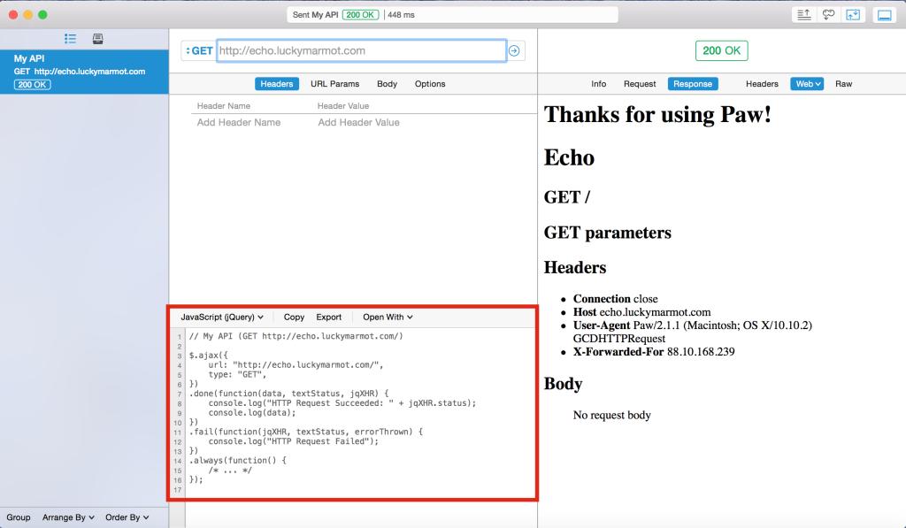 Paw - Code generators - JavaScript