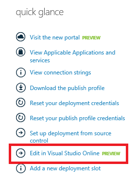 Quick glance Edit in Visual Studio Online