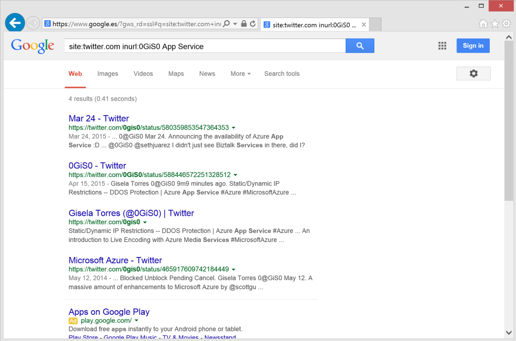 Searching tweets using google search operators