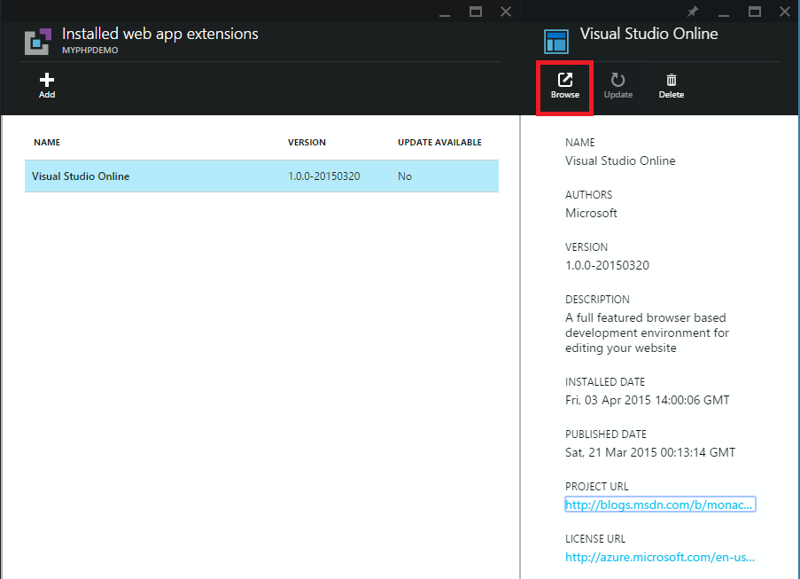 Visual Studio Online extension browse