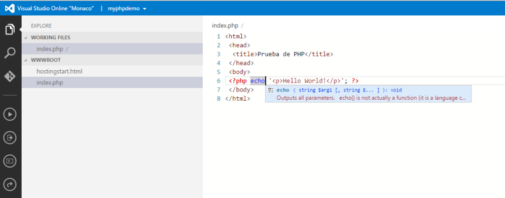 Visual Studio Online with intellisense