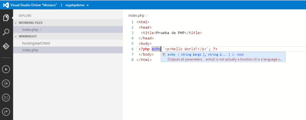 Visual Studio Online with intellisense