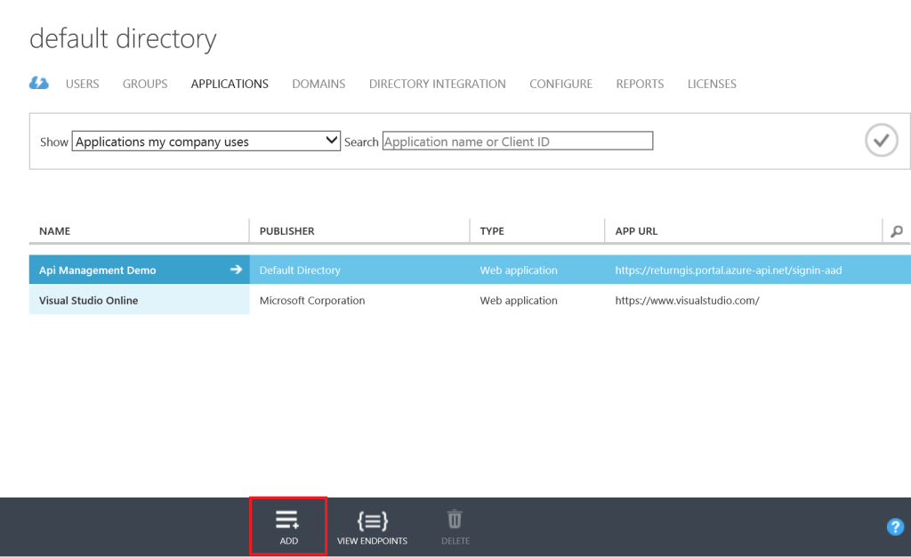 Azure Active Directory - Add application